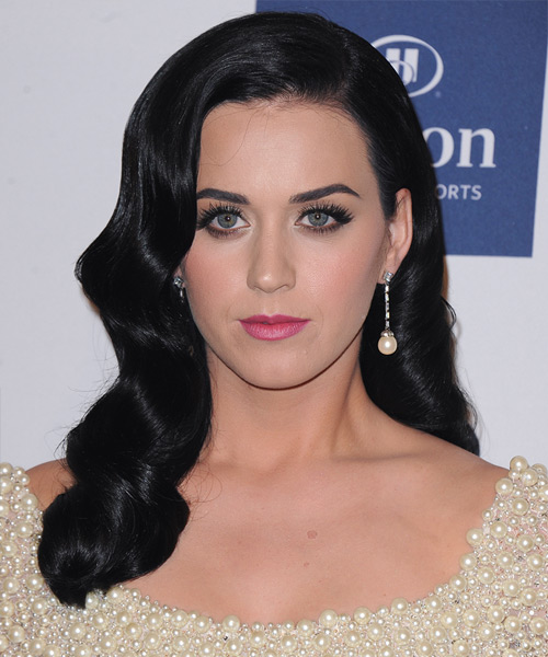 Katy Perry Long Wavy Black Ash Hairstyle