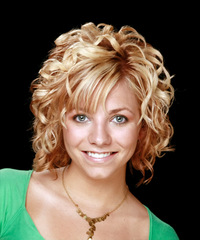 Medium Curly Formal    Hairstyle with Side Swept Bangs  -  Copper Blonde Hair Color