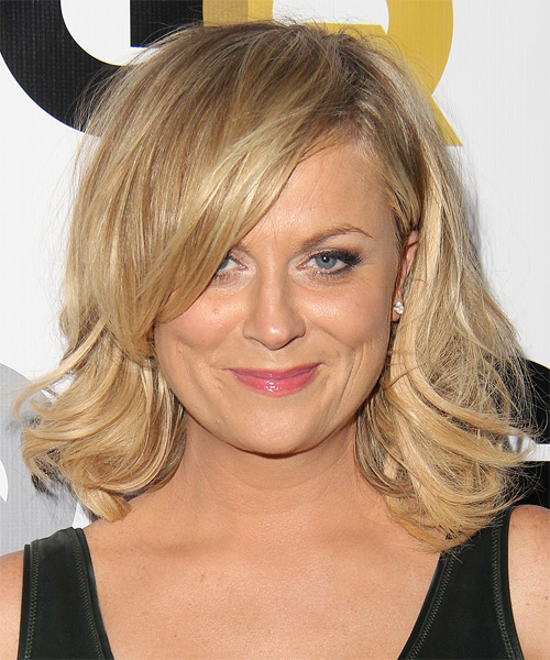 Amy Poehler Medium Straight Formal   Hairstyle with Side Swept Bangs  - Medium Blonde