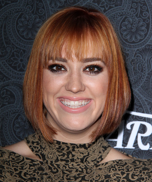 Andrea Bowen Medium Straight Casual Bob  Hairstyle with Blunt Cut Bangs  - Medium Red (Copper)