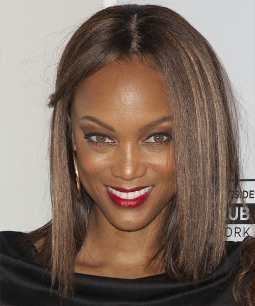 Tyra Banks Medium Straight Casual    Hairstyle   - Medium Chocolate Brunette Hair Color with Dark Blonde Highlights