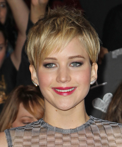 Jennifer Lawrence Short Straight Casual  Pixie  Hairstyle with Side Swept Bangs  -  Golden Blonde Hair Color with Light Blonde Highlights