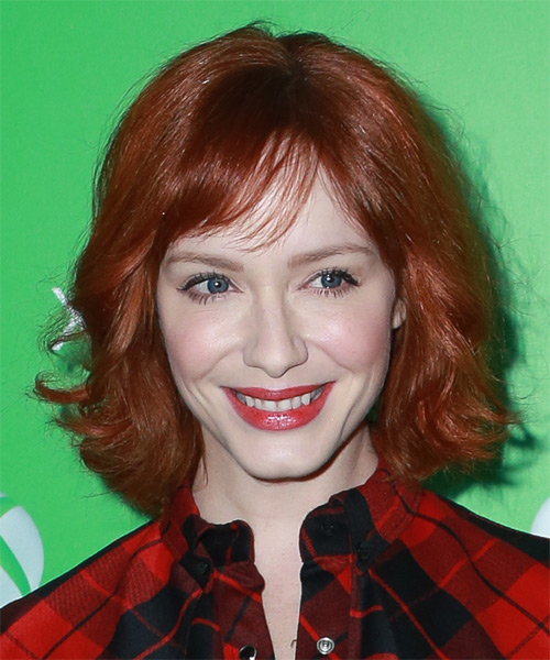 Christina Hendricks Medium Wavy Casual   Hairstyle with Side Swept Bangs  - Medium Red