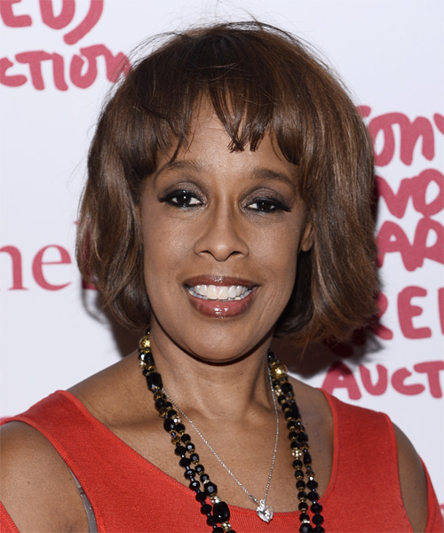 Gayle King Medium Straight Casual   Hairstyle with Blunt Cut Bangs  - Medium Brunette (Chocolate)