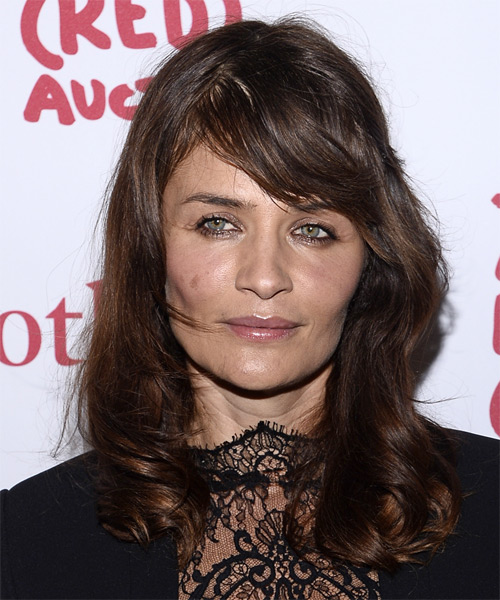 Helena Christensen Long Straight Casual    Hairstyle with Side Swept Bangs  - Dark Chocolate Brunette Hair Color