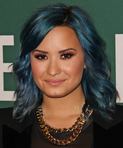 Demi Lovato Medium Wavy Casual    Hairstyle   - Blue  Hair Color