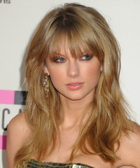 Taylor Swift Long Straight Casual    Hairstyle with Layered Bangs  - Dark Golden Blonde Hair Color