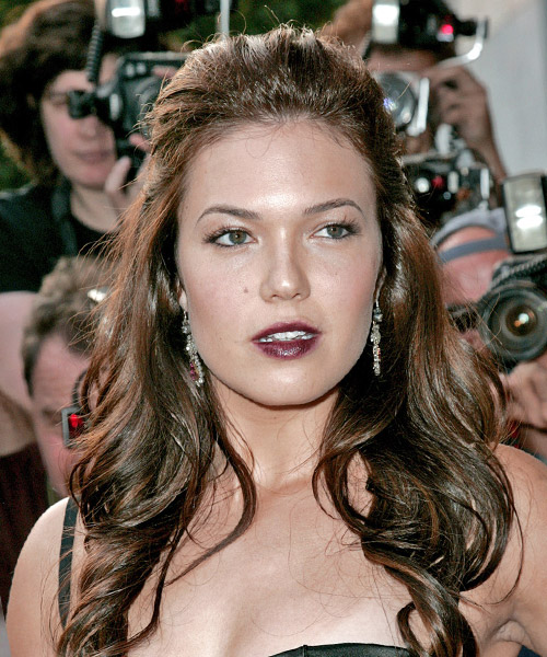 Mandy Moore Half Up Long Curly Formal  Half Up Hairstyle