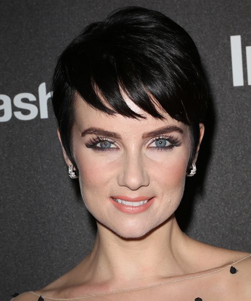 Victoria Summer Short Straight Formal  Pixie  Hairstyle with Side Swept Bangs  - Dark Mocha Brunette Hair Color