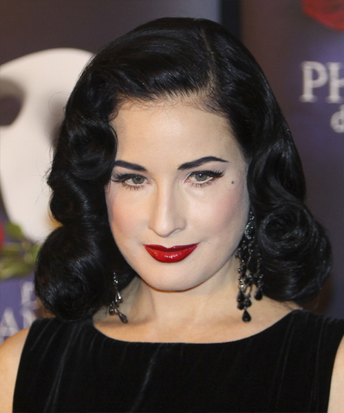 Dita Von Teese Medium Wavy Black Hairstyle