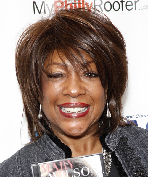Mary Wilson Short Straight Casual   Hairstyle with Side Swept Bangs  - Dark Brunette (Chocolate)