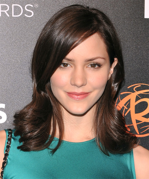 Katharine McPhee Medium Straight Formal   Hairstyle with Side Swept Bangs  - Dark Brunette (Chocolate)