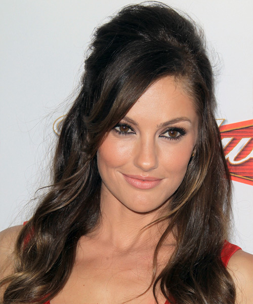Minka Kelly Half Up Long Curly Casual  Half Up Hairstyle with Side Swept Bangs  - Dark Brunette (Ash)