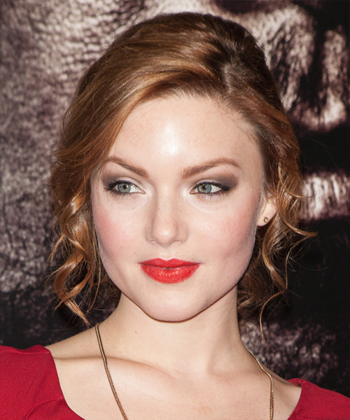 Holliday Grainger Updo Medium Curly Formal Wedding Updo Hairstyle   - Medium Red (Ginger)