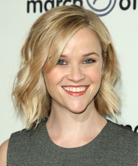 Reese Witherspoon Short Wavy Casual    Hairstyle   - Light Blonde Hair Color