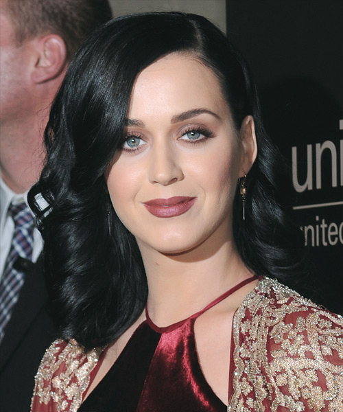 Katy Perry Medium Wavy Formal    Hairstyle   - Black Ash  Hair Color