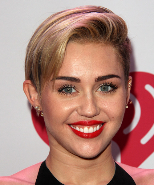 Miley Cyrus Short Straight Casual    Hairstyle   - Dark Blonde Hair Color with Light Blonde Highlights
