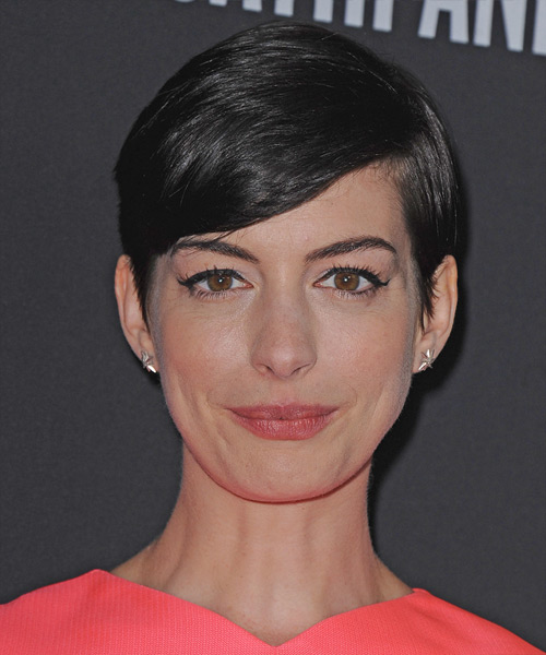 Anne Hathaway Short Straight Formal   Hairstyle with Side Swept Bangs  - Black