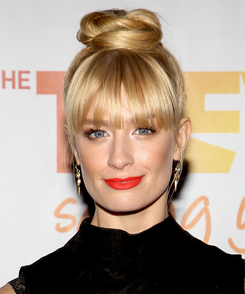 Beth Behrs  Long Straight Formal   Updo Hairstyle   - Light Golden Blonde Hair Color