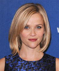 Reese Witherspoon Medium Straight Casual  Bob  Hairstyle   -  Strawberry Blonde Hair Color with Light Blonde Highlights