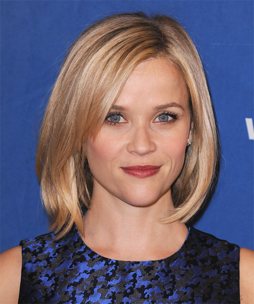 Reese Witherspoon Medium Straight Casual  Bob  Hairstyle   - Medium Strawberry Blonde Hair Color with Light Blonde Highlights