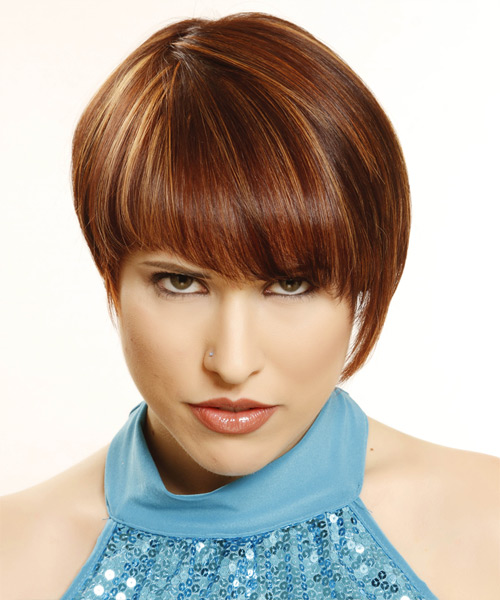 Short Straight    Mahogany Red   Hairstyle with Layered Bangs  and  Blonde Highlights