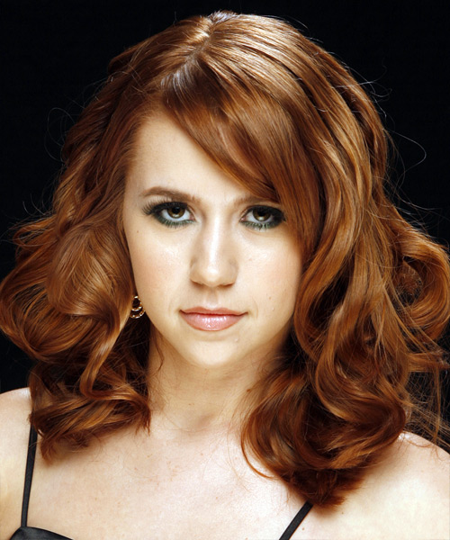 Long Wavy Formal    Hairstyle   -  Auburn Brunette Hair Color