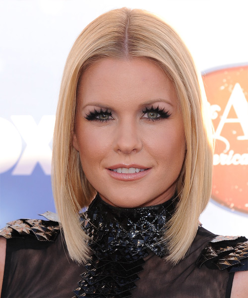 Carrie Keagan Medium Straight Formal    Hairstyle   - Light Strawberry Blonde Hair Color