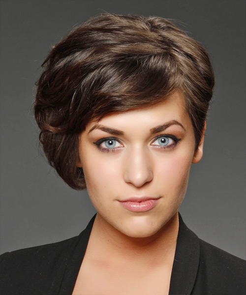 Short Straight   Chocolate Asymmetrical  Hairstyle