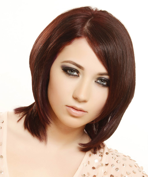 Medium Straight    Red   Hairstyle
