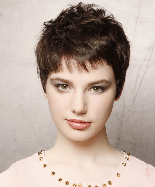 Short Straight   Dark Mocha Brunette   Hairstyle with Layered Bangs