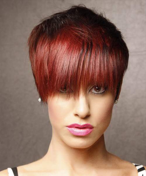 Short Straight Alternative  Emo  Hairstyle with Layered Bangs  - Black  and Medium Red Two-Tone Hair Color