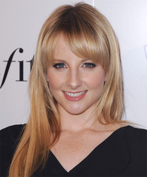 Melissa Rauch Long Straight Casual    Hairstyle with Blunt Cut Bangs  -  Strawberry Blonde Hair Color with Light Blonde Highlights