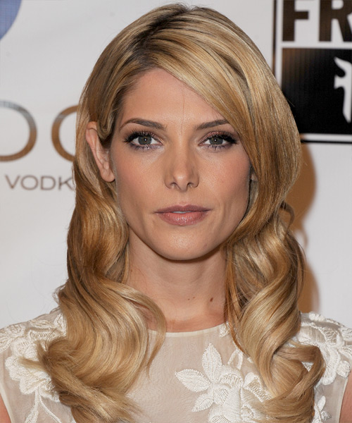 Ashley Greene Long Wavy Formal    Hairstyle   - Medium Golden Blonde Hair Color with Light Blonde Highlights