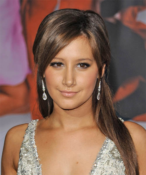 Ashley Tisdale Half Up Long Straight Casual  Half Up Hairstyle with Side Swept Bangs  - Medium Brunette