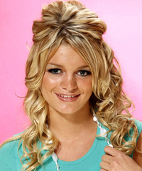Long Curly Formal   Half Up Hairstyle   -  Golden Blonde Hair Color with Light Blonde Highlights