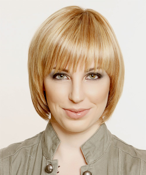 Short Straight    Honey Blonde Bob  Haircut with Layered Bangs  and Light Blonde Highlights