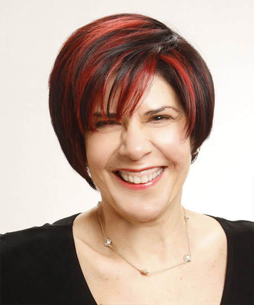 Short Straight Casual    Hairstyle   - Black  Hair Color with  Red Highlights