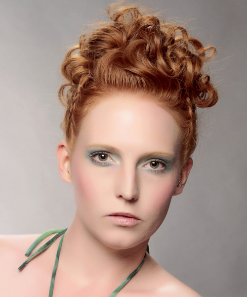 Updo Long Curly Formal Wedding Updo Hairstyle   - Light Red (Ginger)