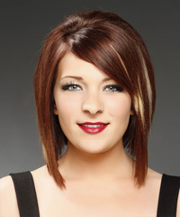 Medium Straight Formal  Bob  Hairstyle   -  Mahogany Red Hair Color with Light Blonde Highlights