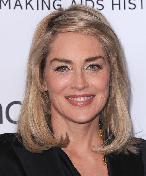 Sharon Stone Medium Straight Casual    Hairstyle   -  Champagne Blonde Hair Color