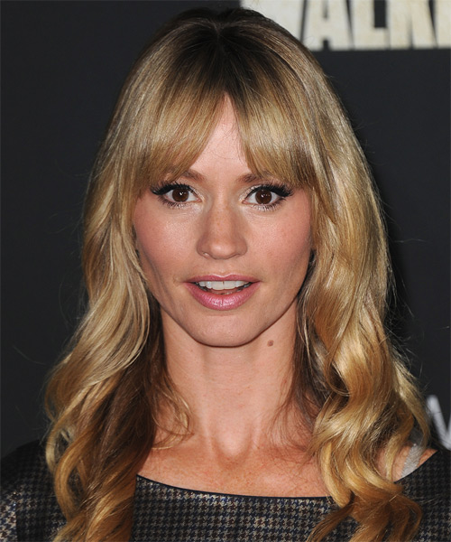 Cameron Richardson Long Wavy Casual    Hairstyle with Layered Bangs  - Dark Golden Blonde Hair Color with Light Blonde Highlights