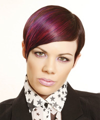 Short Straight Formal    Hairstyle   -  Plum Red Hair Color with Pink Highlights