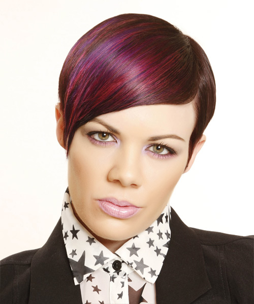Short Straight    Plum Red   Hairstyle   with Pink Highlights