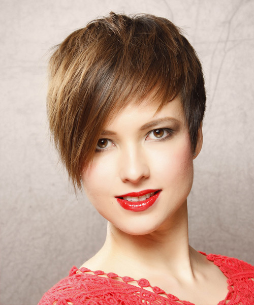 Short Straight    Chestnut Brunette   Hairstyle with Side Swept Bangs