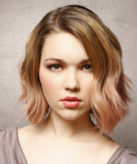 Medium Wavy Casual    Hairstyle   - Dark Strawberry Blonde Hair Color with  Blonde Highlights