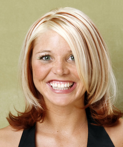 Long Straight    Red and Light Blonde Two-Tone   Hairstyle