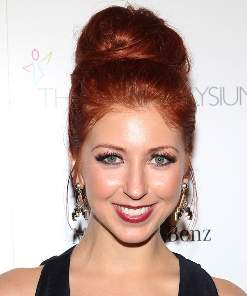 Morgan Smith Goodwin  Long Straight    Bright Red  Updo