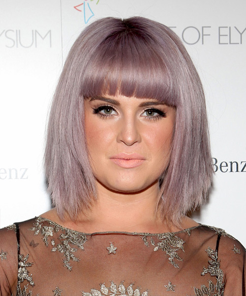 Kelly Osbourne Medium Straight Casual Bob  Hairstyle with Blunt Cut Bangs  - Black