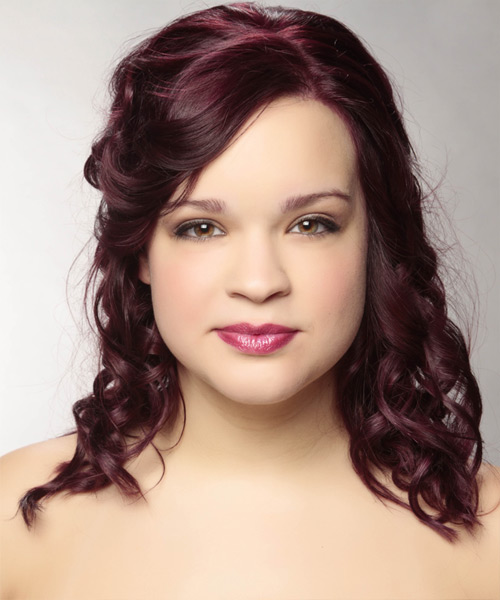 Long Curly Casual   Half Up Hairstyle   - Dark Plum Red Hair Color